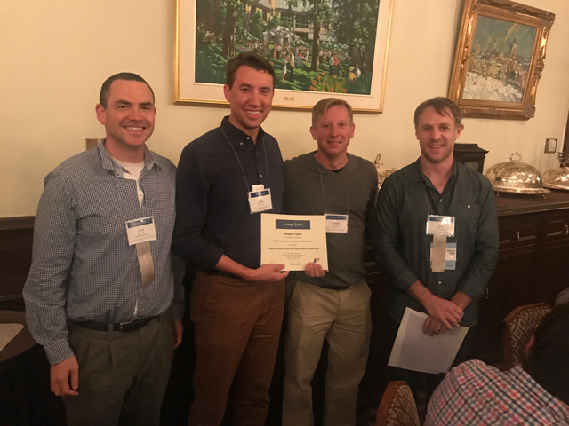 Adam Kalai, Jeff Nichols, and Steven Dow presenting Notable Paper Award to Kurt Luther at HCOMP 2017