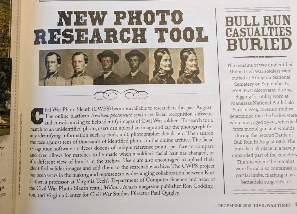 New Photo Research Tool in Civil War Times magazine